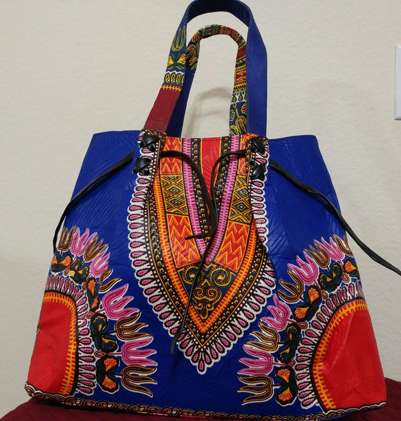 Dashiki African Print Ankara Handbag, large handbag, Ankara fabric, blue, black,  red, white, insider pocket bag.