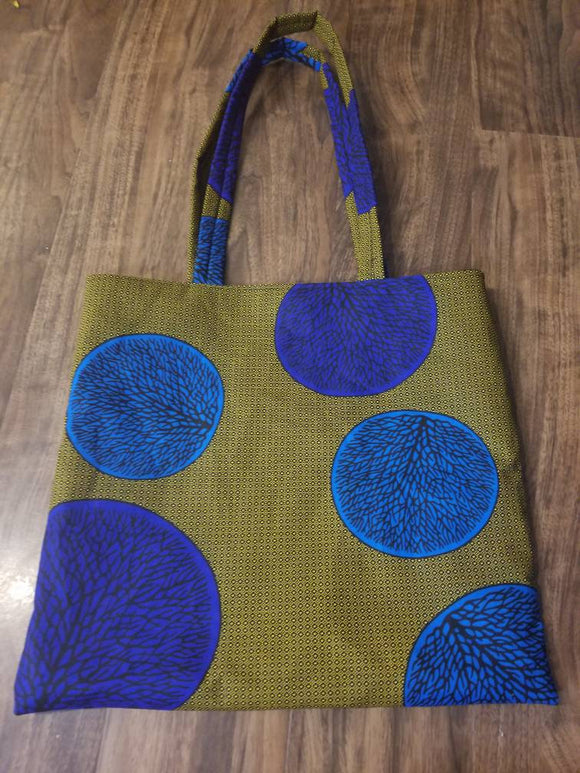 Ankara tote bag, large, everyday bag, gold, blue, African print fabric, inside pocket, long strap.