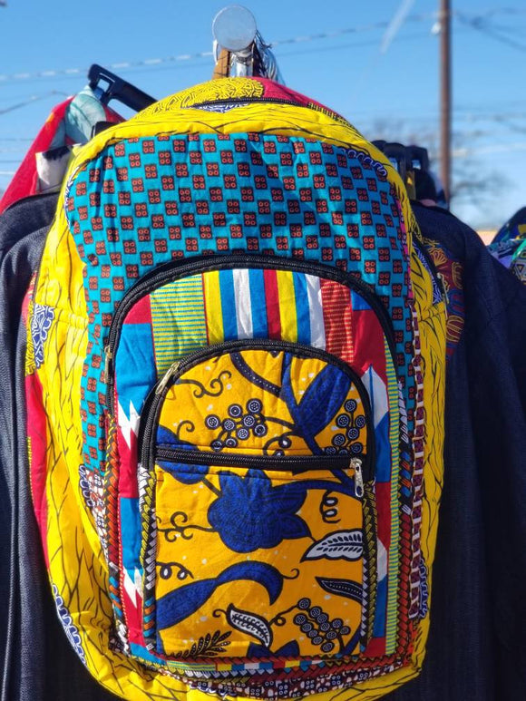 Ankara, African Print Backpack, book bag, back to school bookbag.
