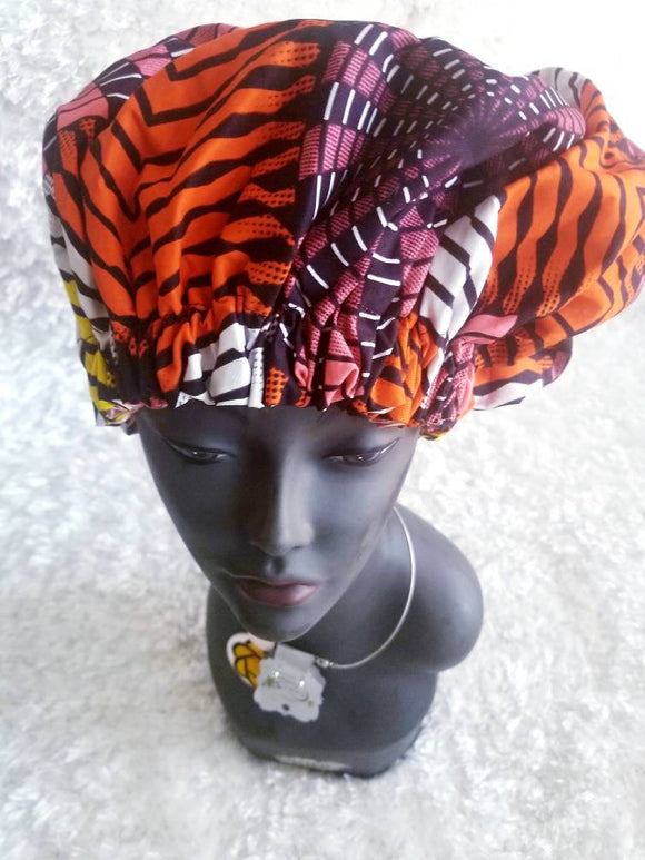 African Print Ankara hair bonnet, night cap, head piece, hat, reversible,  multicolor, yellow, black, orange, white, peach, large.
