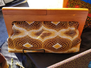 Wooden Frame Ankara Clutch, wood handle, oversize clutch, gold white, brown wood, batik fabric, african fabric, Nigerian fabric.