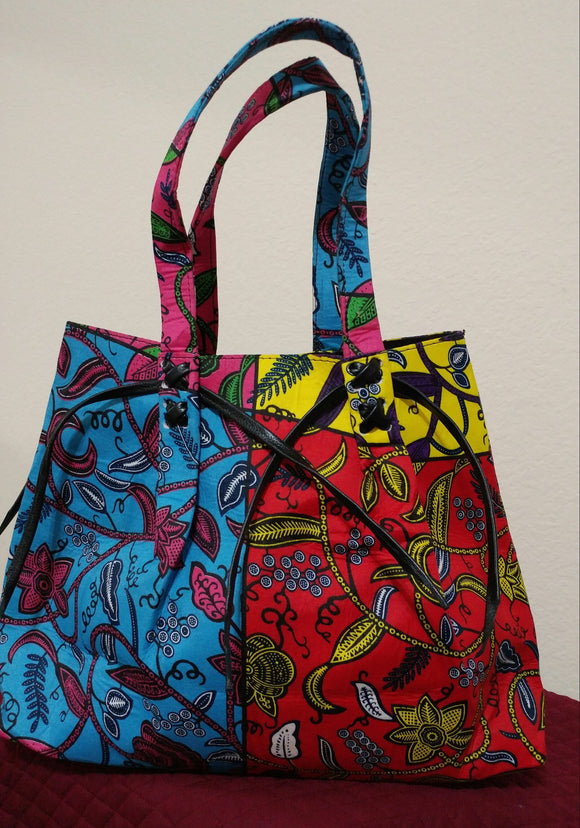 African Print Ankara Handbag, large handbag, Ankara fabric, blue, black,  red, yellow, insider pocket bag.