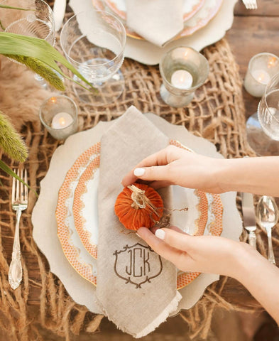 Orange Velvet Pumpkin Table Setting