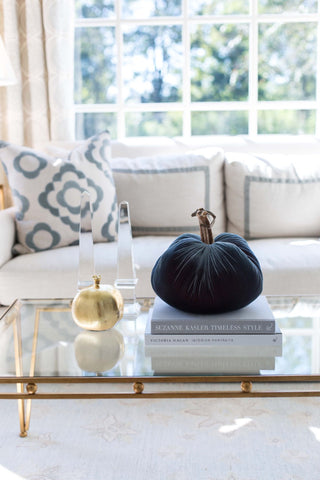 Velvet Pumpkin Coffee Table Styling