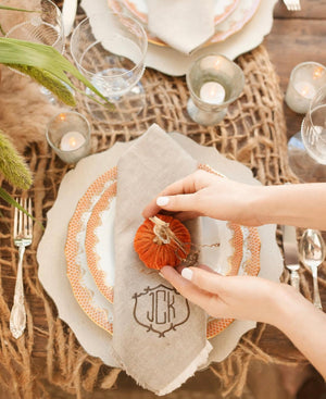 Orange Velvet Pumpkin on rustic fall tablescape.
