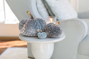 Light blue velvet pumpkins