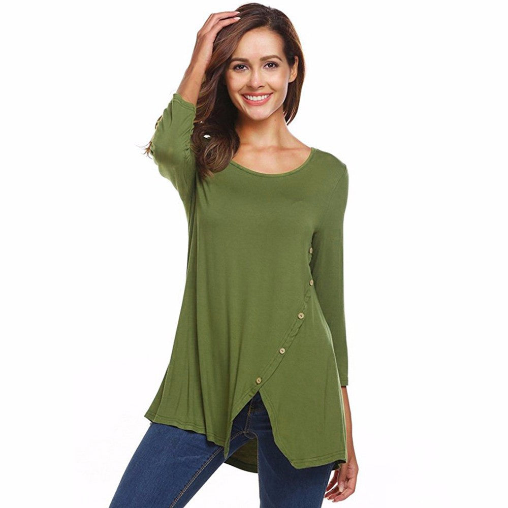 Women's Solid Split Hemline Casual T-Shirt Blouse Tunic Tops With Buttons