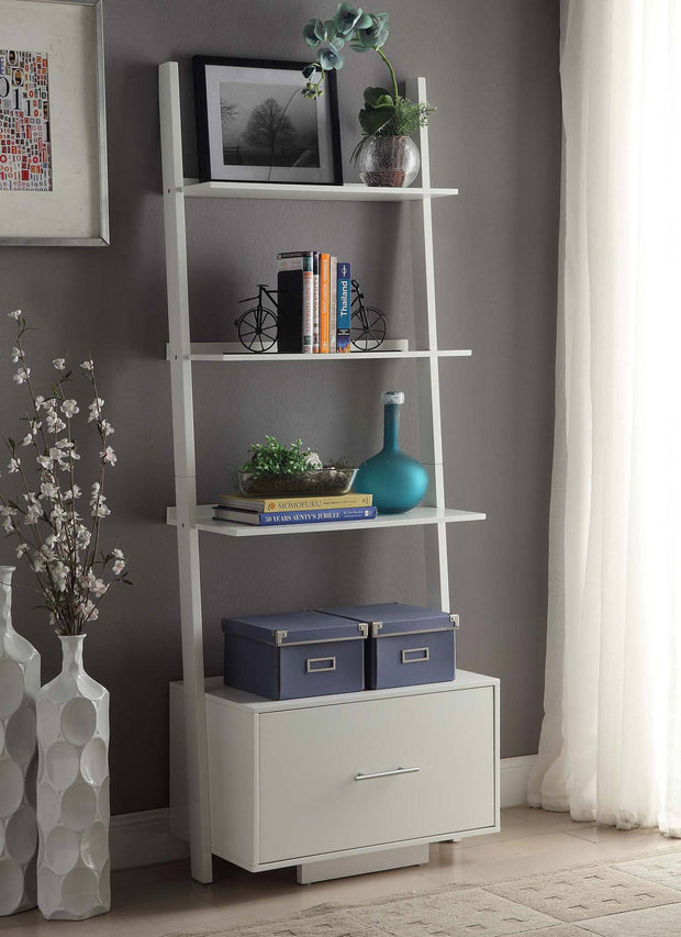 Convenience Concepts American Heritage Ladder Bookcase with File Drawer 447