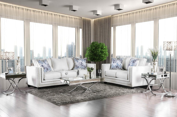 Furniture of America Ingles Contemporary Loveseat in Off-White