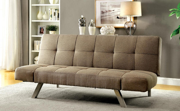 Furniture of America Fenton Contemporary Futon Sofa in Light Brown