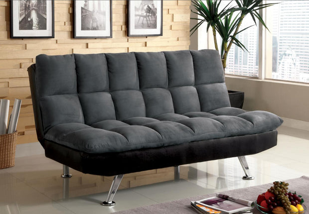 Furniture of America Allen Contemporary Futon Sofa in Gray