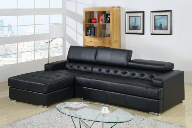 Furniture of America Halston Black Leatherette Chaise Sectional with Adjustable Headrests