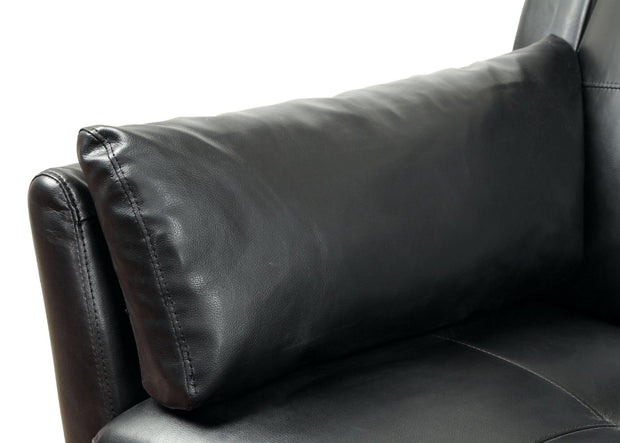 Furniture of America Noah Contemporary Tufted Leatherette Sofa Sectional in Black