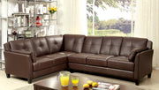 Furniture of America Noah Contemporary Tufted Leatherette Sofa Sectional in Brown