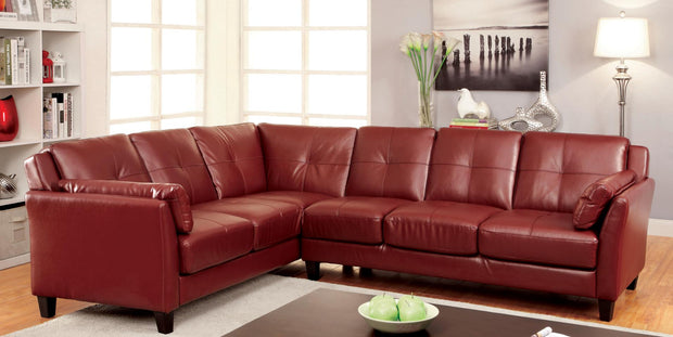 Furniture of America Noah Contemporary Tufted Leatherette Sofa Sectional in Red