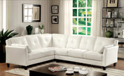 Furniture of America Noah Contemporary Tufted Leatherette Sofa Sectional in White