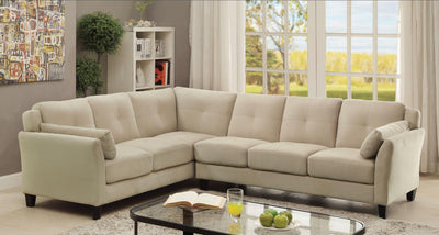 Furniture of America Nola Contemporary Tufted Fabric Sofa Sectional in Beige