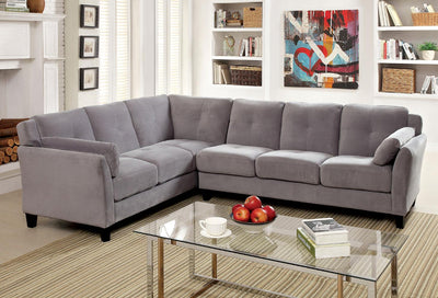 Furniture of America Nola Contemporary Tufted Fabric Sofa Sectional in Warm Gray