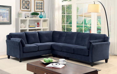 Furniture of America Nola Contemporary Tufted Fabric Sofa Sectional in Navy
