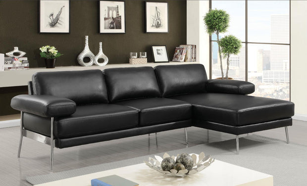 Furniture of America Elija Contemporary Sectional Sofa in Black