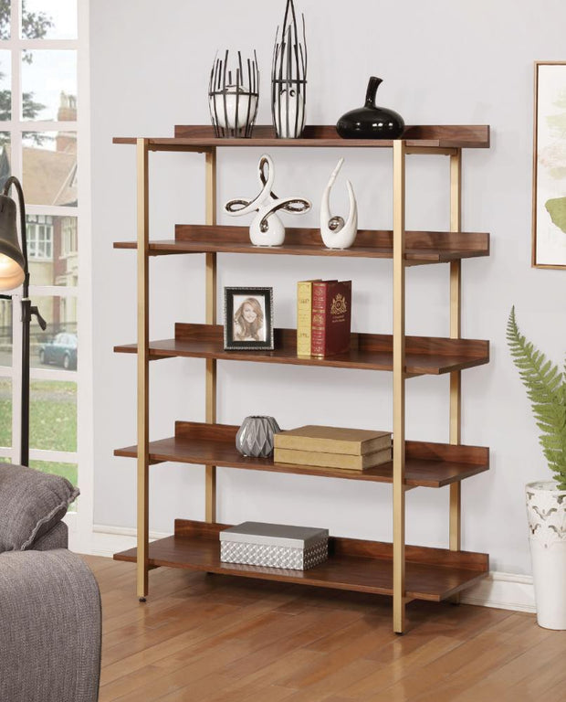 Furniture of America Endsor Contemporary Style Light Walnut Shelf