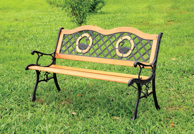 Furniture of America Vidal Traditional Style Swan Back Outdoor Patio Bench
