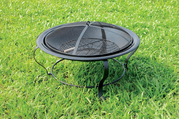 Furniture of America Falon Contemporary Style Outdoor Fire Pit with Spark Guard