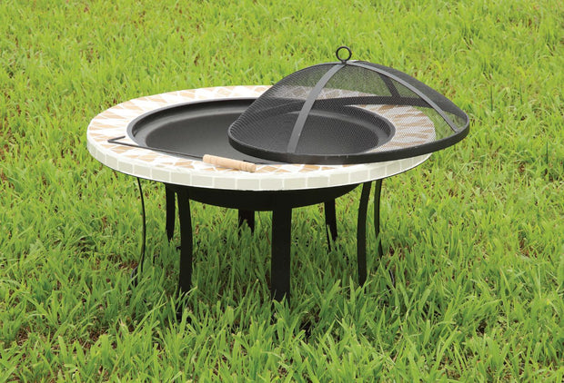 Furniture of America Rissa Contemporary Style Outdoor Fire Pit with Spark Guard