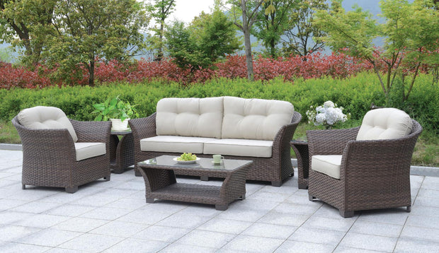 Furniture of America Sorieda Contemporary Style Outdoor Patio 6 PC Outdoor Patio Lounge Set in Brown