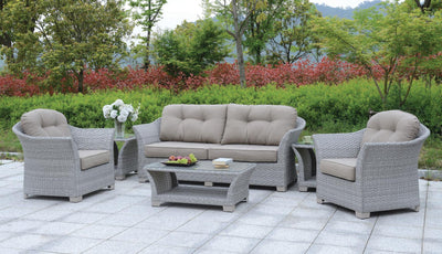 Furniture of America Sorieda Contemporary Style Outdoor Patio 6PC Outdoor Patio Lounge Set in Gray