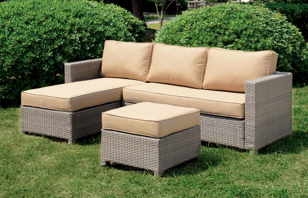 Furniture of America Vilma Contemporary Style Outdoor Patio Chaise Sectional and Ottoman Set