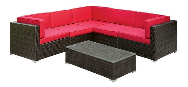 Furniture of America Algirra Contemporary Style Red Outdoor Patio Sectional and Coffee Table Set