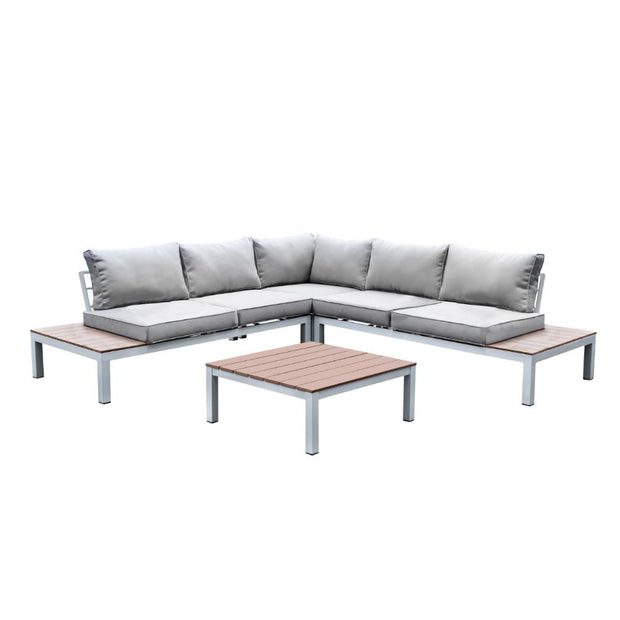 Furniture of America Felisa Contemporary Style L-Shaped Gray Patio Sectional Lounge Set