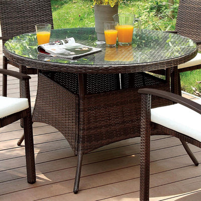 Furniture of America Samara Contemporary Style Outdoor Patio Round Table