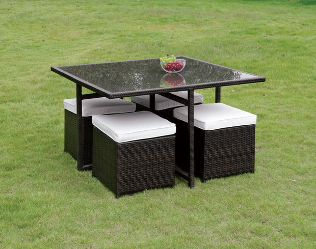 Furniture of America Ronny Contemporary Style Outdoor Patio 9PC Dining Set
