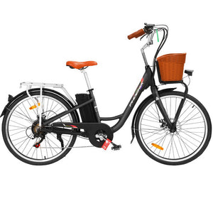 "Phoenix 26"" Electric Bike City Bicycle Vintage Style LG Battery Green / Black - eRider.com.au"
