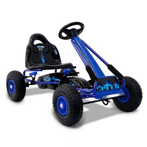 RIGO Kids Pedal Go Kart Car Ride On Toys Racing Bike Blue - eRider.com.au