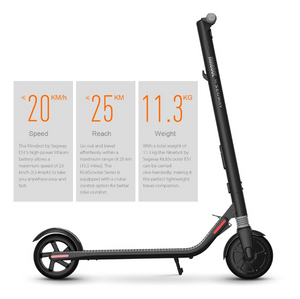 Ninebot Segway ES1 Smart Scooter Two Wheel Folding Electric Scooter for Adults Teens 20km/h 100kg Max Load - eRider