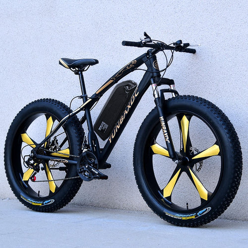 HRTC 26inch snow electric mountain bicycle 48V lithium battery 1000w motor fat ebike 4.0 tires high speed brushless electric bike - eRider