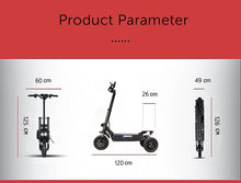 "Load image into Gallery viewer, JueShuai (JS) 80KM/H Foldable Electric Scooter Powerful 3x1600W Motor 11"" Three Motor Wheel Samsung 42AH"