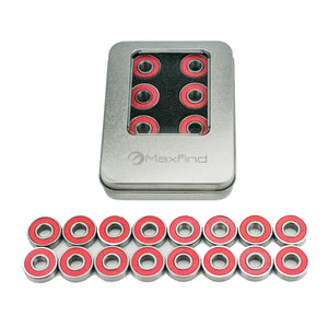 Maxfind 608 RS ABEC 9 Bearings Skateboard Bearings Longboard Bearings Red Silver Set of 16 - eRider