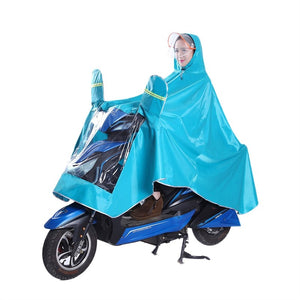 Durable Thicken Waterproof Oxford Fabric Bike Motorcycle Electric Bike Raincoat Poncho Raincape for Adult Size XXXL (Lake Blue) - eRider
