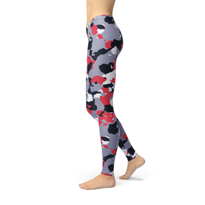Red White Camo Yoga Leggings
