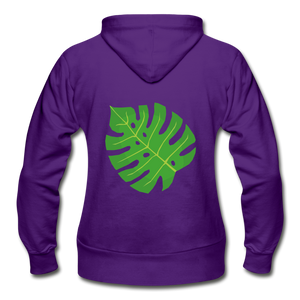 Philodendron Leaf Heavy Blend Women's Zip Hoodie - purple