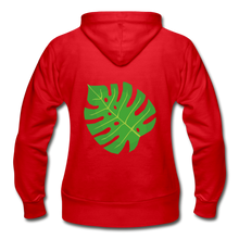 Load image into Gallery viewer, Philodendron Leaf Heavy Blend Women's Zip Hoodie - red