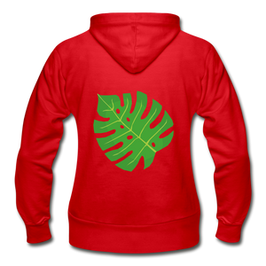Philodendron Leaf Heavy Blend Women's Zip Hoodie - red
