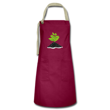 Load image into Gallery viewer, Single Plant Growth Artisan Apron - burgundy/khaki