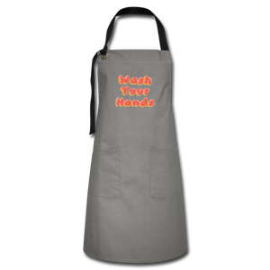 Wash Your Hands Artisan Apron - gray/black
