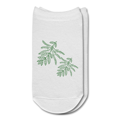 Herbs Plant Ankle Socks - white