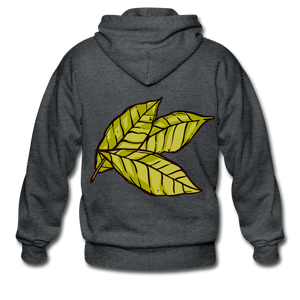 Organic Bay Leaves Heavy Blend Adult Zip Hoodie - deep heather